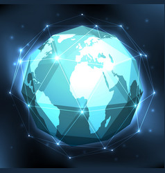 geometric world globe vector image vector image
