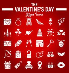 happy valentines day glyph icon set vector image vector image