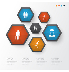 human icons set collection of family running vector image vector image