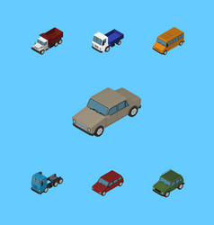 Isometric car set of autobus truck armored and vector