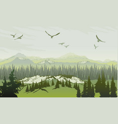 landscape with forest and mountains sunrise sky vector image