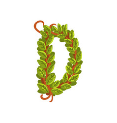 Letter d english alphabet made of tree branches vector