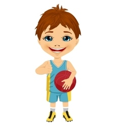 little boy holding basketball vector image