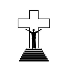 man in the background of the cross of jesus christ vector image vector image