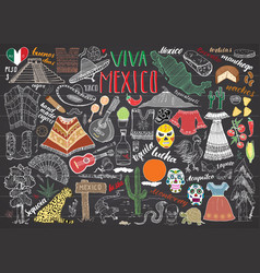 mexico hand drawn sketch set chalkboard vector image