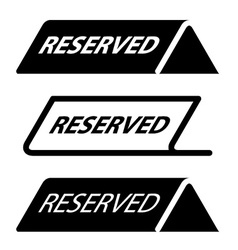 Restaurant reserved table sign black icons vector