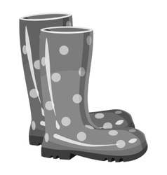 Rubber boots icon gray monochrome style vector