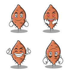 set yam character cartoon collection vector image vector image