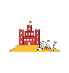 silhouette color section of sand castle with toy vector image