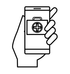 smartphone with medical app vector image vector image