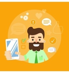 Social media banner Man with smartphone vector image vector image