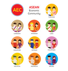 Southeast asia people in traditional clothing vector