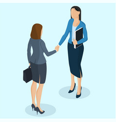 successful businesswomen handshaking vector image