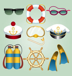 Summer beach vacation cartoon emblem set vector