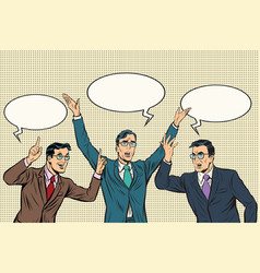 Three speakers gestures businessmen vector