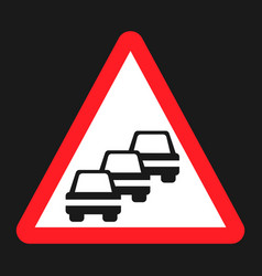 Traffic congestion sign flat icon vector