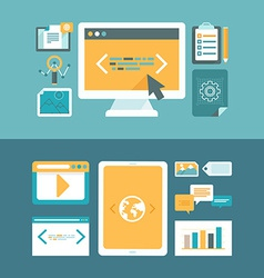 Web development and digital content marketing vector