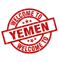 Welcome to yemen red stamp vector