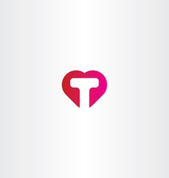 Letter t heart icon logo vector