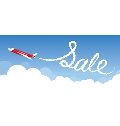 Plane with White Trail Smoke Sale Text vector image