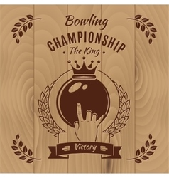 Bowling Championship Vintage Style Design vector image