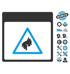 Rooster danger calendar page icon with vector