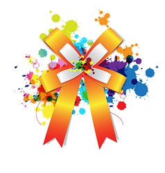 Ribbon bow on ink splash vector