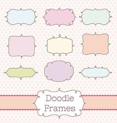 Vintage label frame art set vector