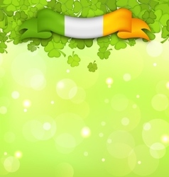 Nature background with shamrocks and irish flag vector
