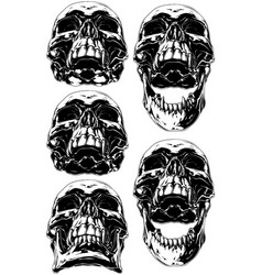 black scary human skull with canine tattoo set vector image