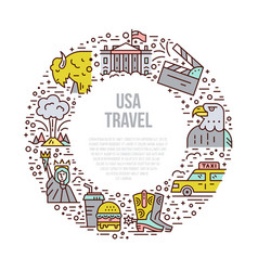 The usa symbols in line style vector