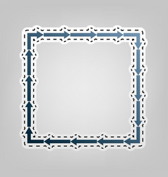 arrow on a square shape  blue icon with vector image