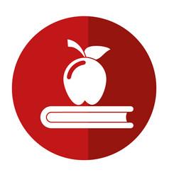 Apple book school symbol shadow vector