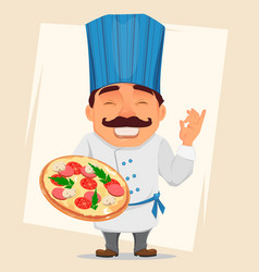 Chef cook holding tasty pizza cute cartoon vector