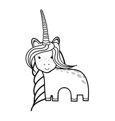 Figure beautiful unicorn with horn and mane long vector