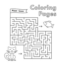 Cartoon cat maze game vector