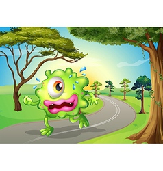 A monster jogging at the road vector