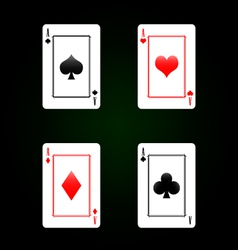 Set of playing cards - four aces vector image