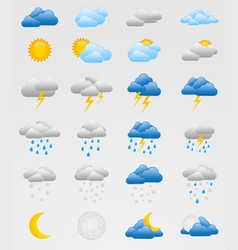 Set of colorful weather icons vector