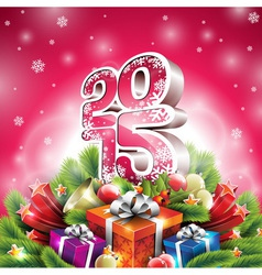 Christmas with 3d 2015 typographic de vector image