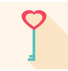 Key heart shaped vector
