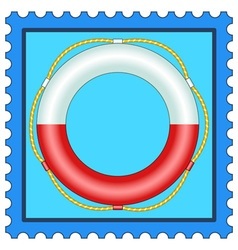 Lifebuoy on stamp vector