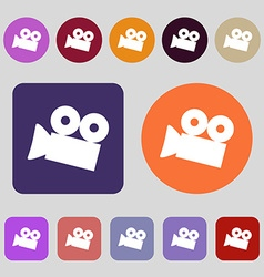 Video camera sign icon content button 12 colored vector
