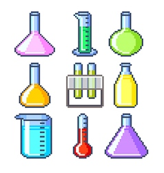Pixel flasks and test tubes icons set vector