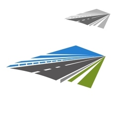Icon of highway disappearing beyond horizon vector image
