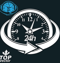 3d round 24 hours clock with arrow around includes vector