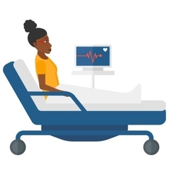 Patient lying in bed with heart monitor vector