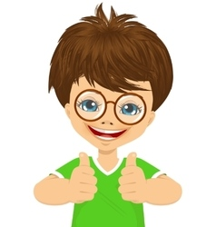Little boy with glasses showing two thumbs up vector