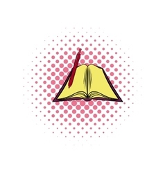 Open textbook comics icon vector