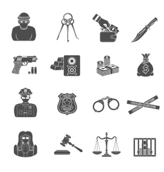 Crime and Punishment Icons Set vector image